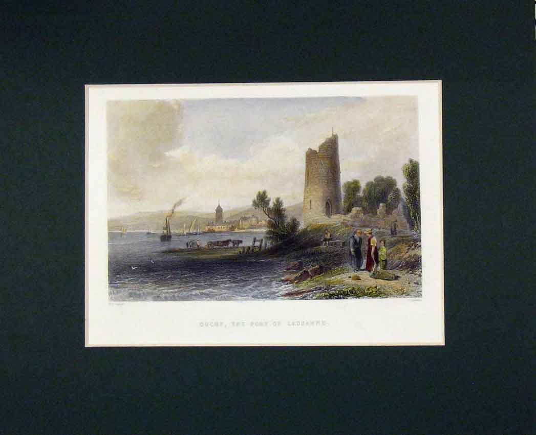 Print 1840 Hand Coloured View Ouchy Port Lausanne Boat 314B268 Old Original