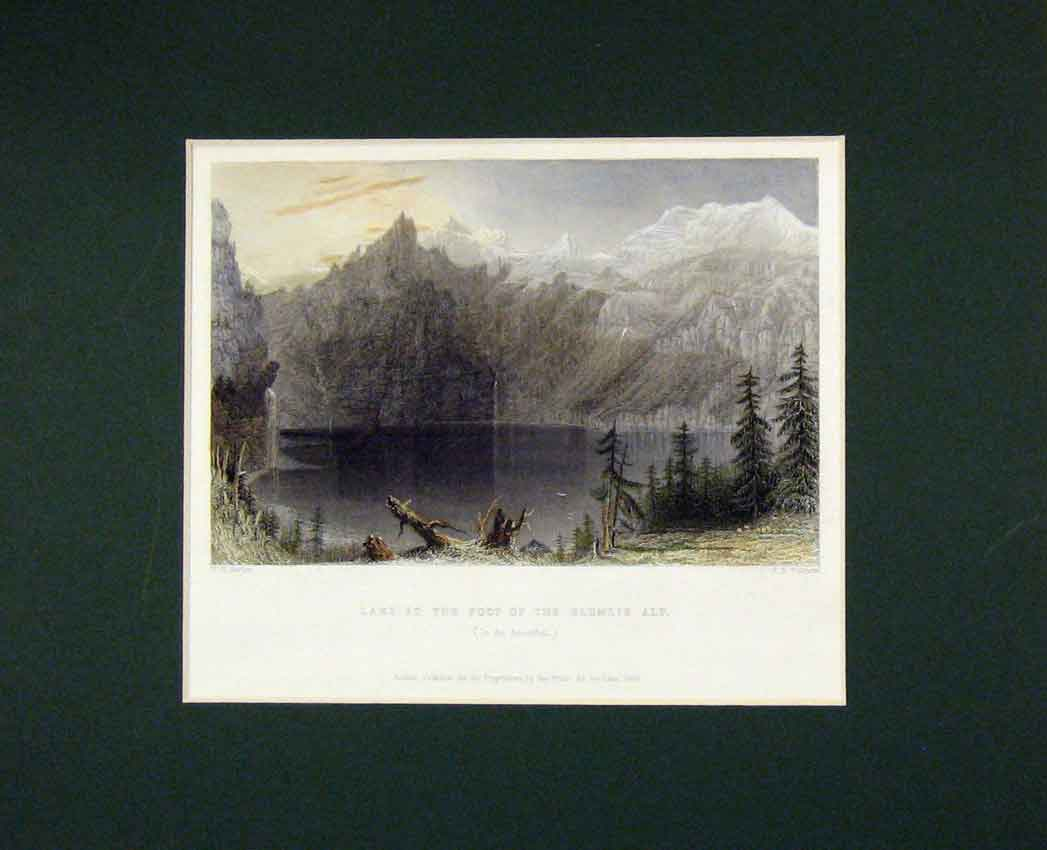 Print View Lake Foot Blumlis Alp Mountains 1835 Hand Coloured 316B268 Old Original