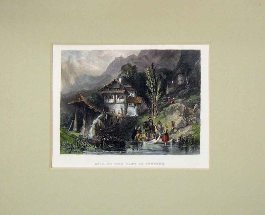 Print 1840 Hand Coloured View Mill Lake Lungern Mountains 321B268 Old Original