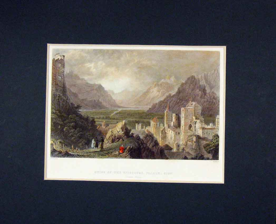 Print View Ruins Episcopal Palace Sion 1840 Hand Coloured 323B268 Old Original