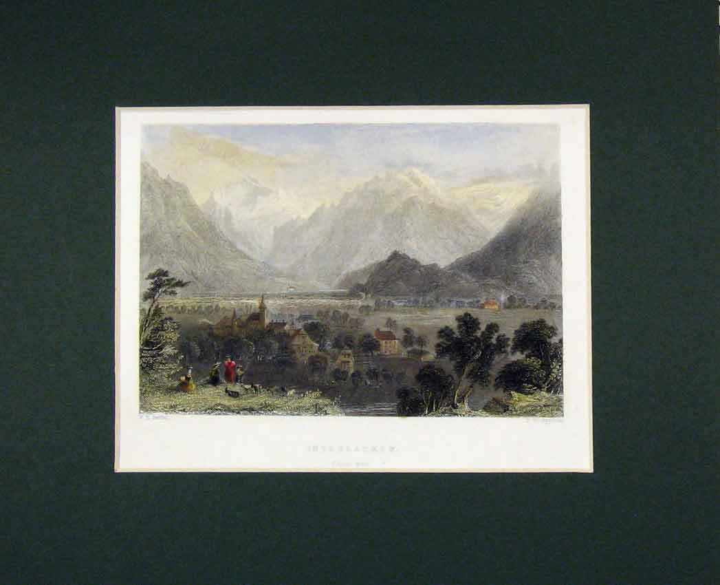 Print Hand Coloured 1840 View Interlacken Canton Bern 328B268 Old Original