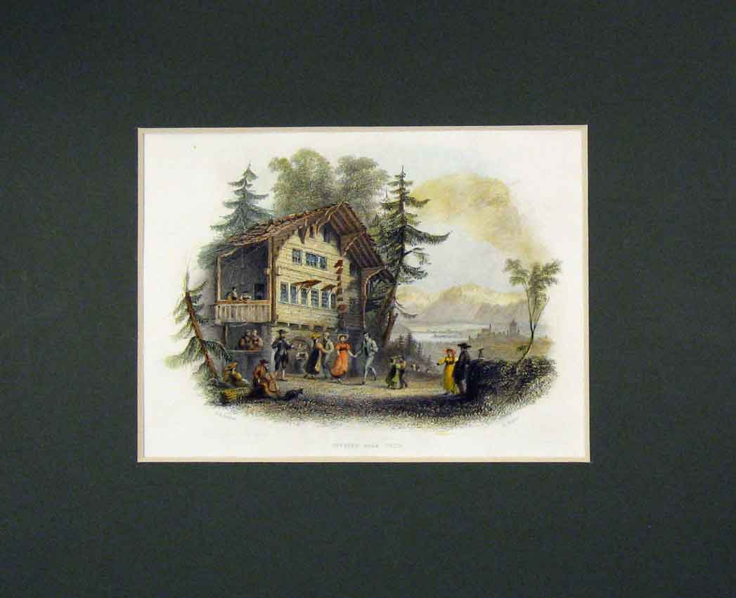 Print 1840 Hand Coloured View Cottage Thun Dancing 333B268 Old Original