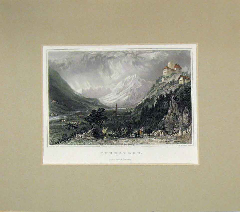 Print View Thurstein Snow Mountians 1840 Hand Coloured 201B269 Old Original