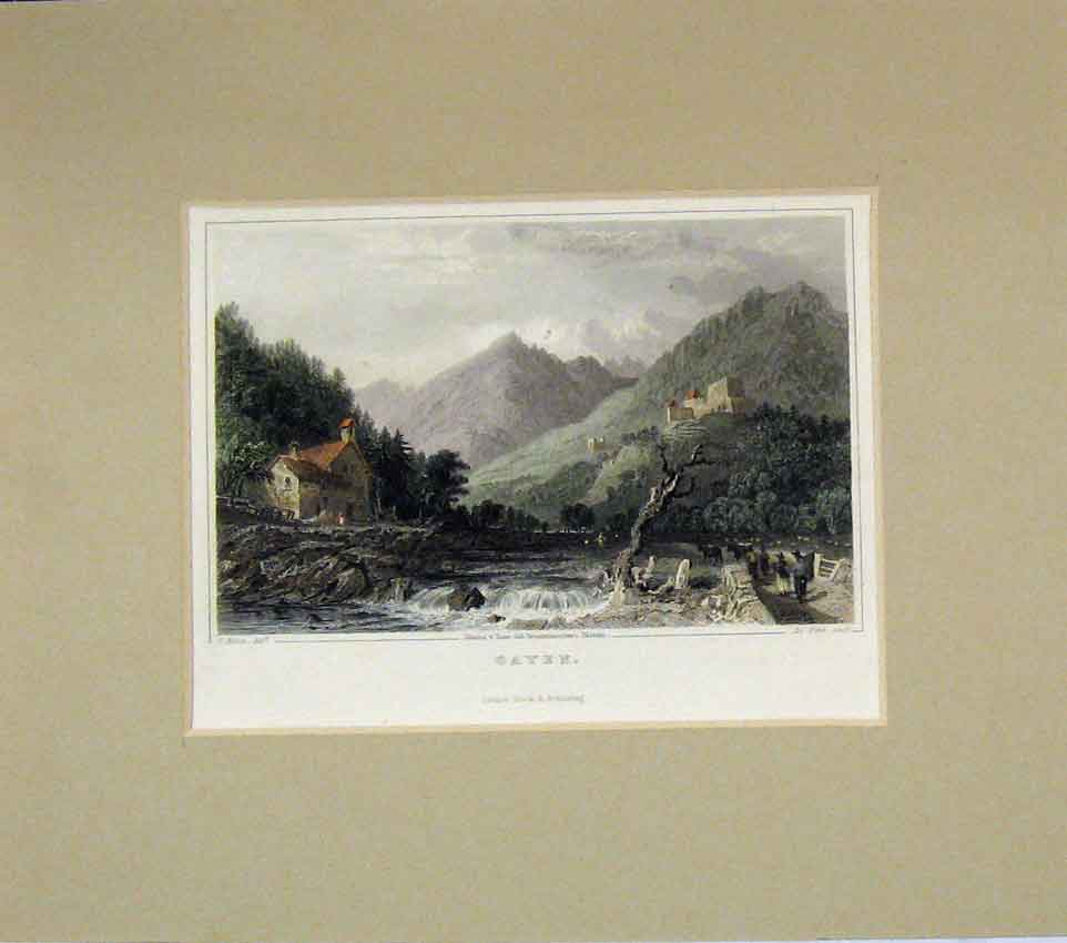Print View Gayen Mountains River 1840 Hand Coloured 202B269 Old Original