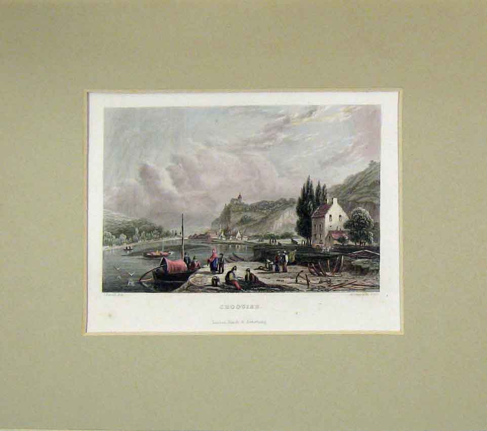 Print 1840 Hand Coloured View Choquier River Boats 207B269 Old Original