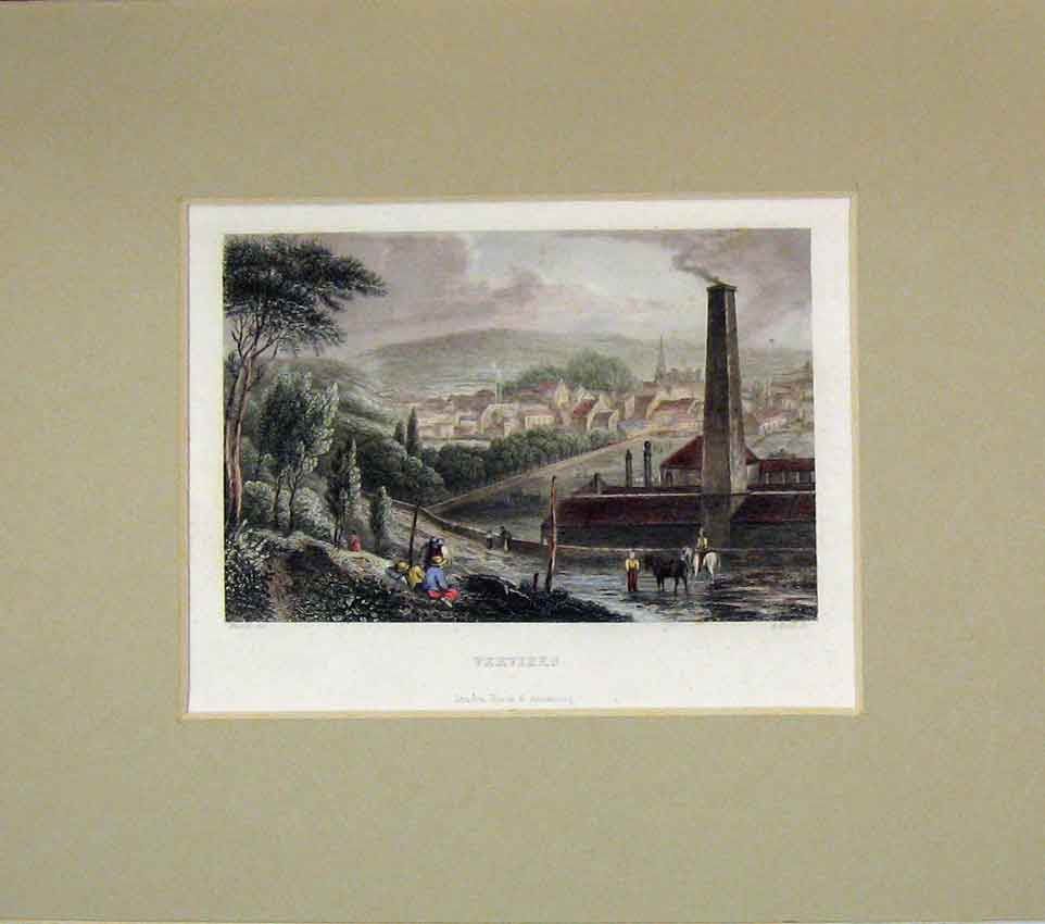 Print 1840 Hand Coloured View Verviers Town Scene 208B269 Old Original