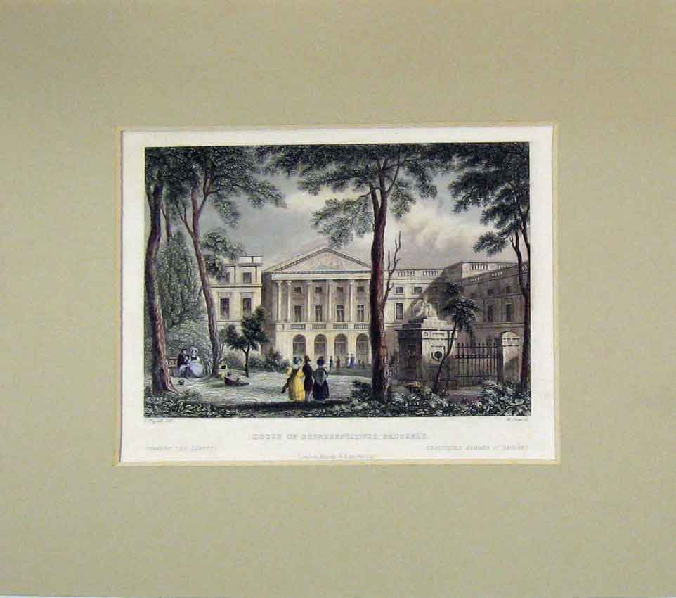 Print House Representatives Brussels 1840 Hand Coloured 209B269 Old Original