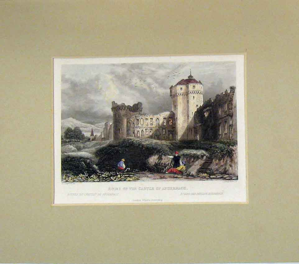 Print 1848 Hand Coloured View Ruins Castle Andernach 213B269 Old Original