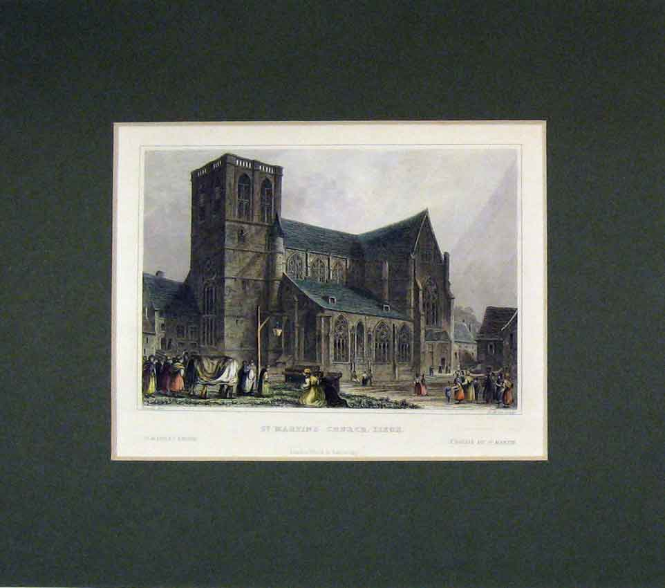 Print 1830 Hand Coloured View St Martins Church Liege 222B269 Old Original