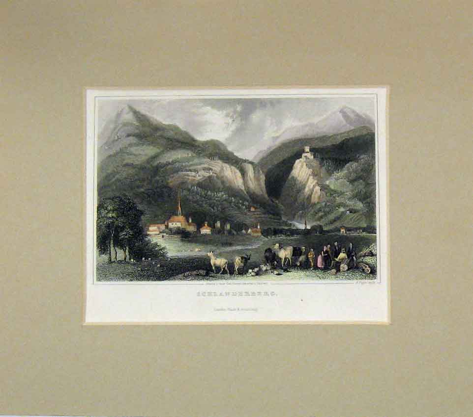 Print 1840 Hand Coloured View Schlanderberg Mountains 225B269 Old Original