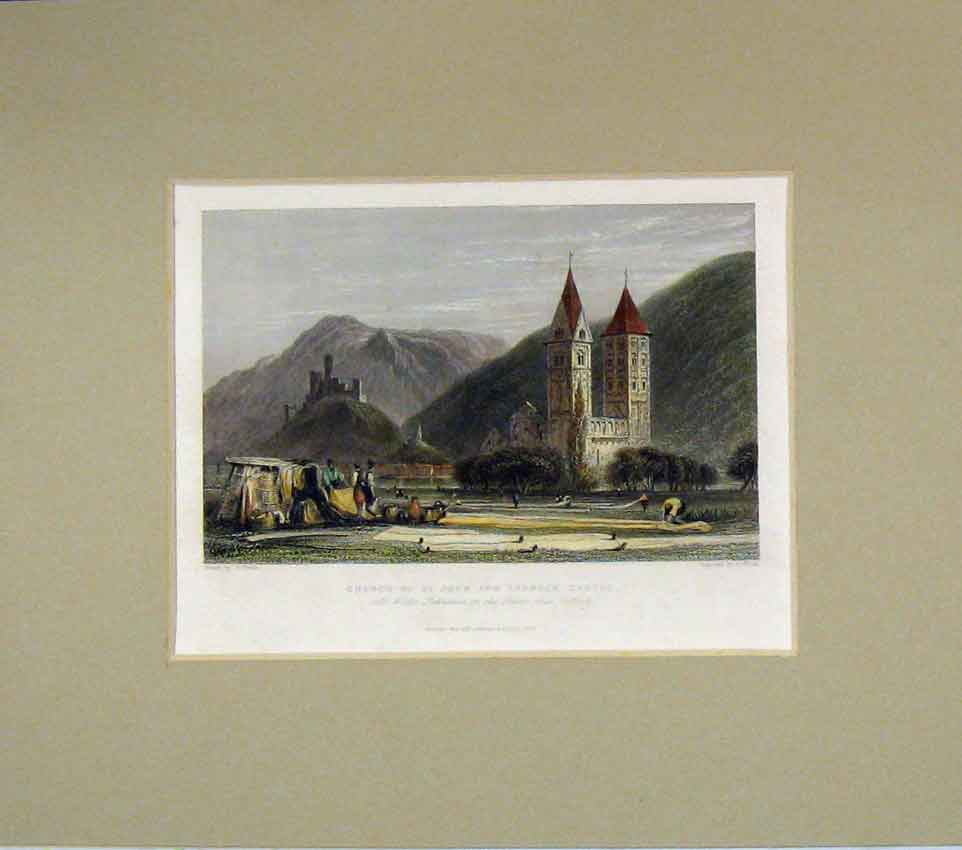 Print 1837 Hand Coloured View Church St John Lamneck Castle 226B269 Old Original