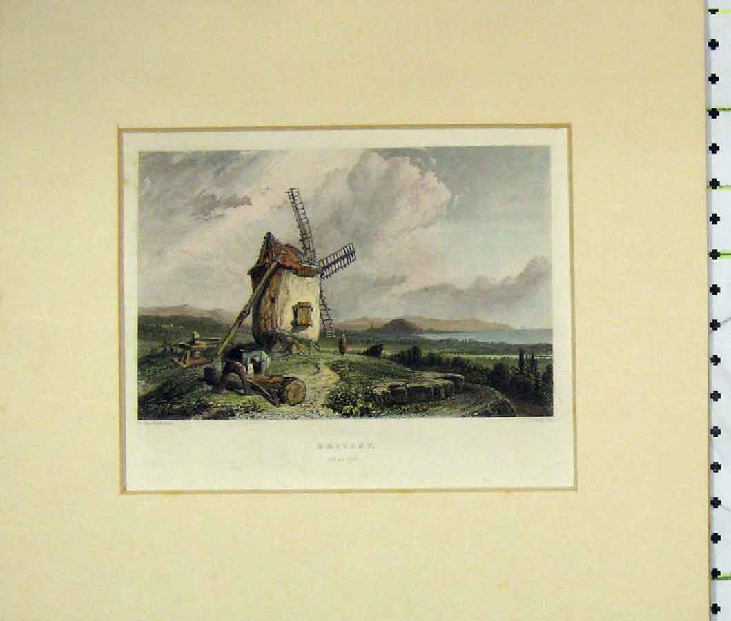 Print 1840 Hand Coloured View Britany France Windmill 223B274 Old Original
