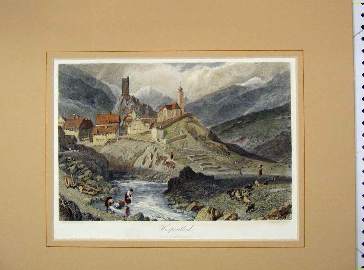 Print 1860 Hand Coloured View Hospenthal Mountain Scene 110B275 Old Original