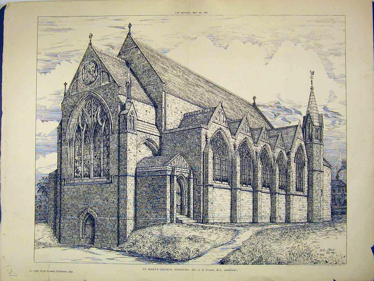Print 1891 View St Mary'S Church Newbury Street Architect 102B303 Old Original