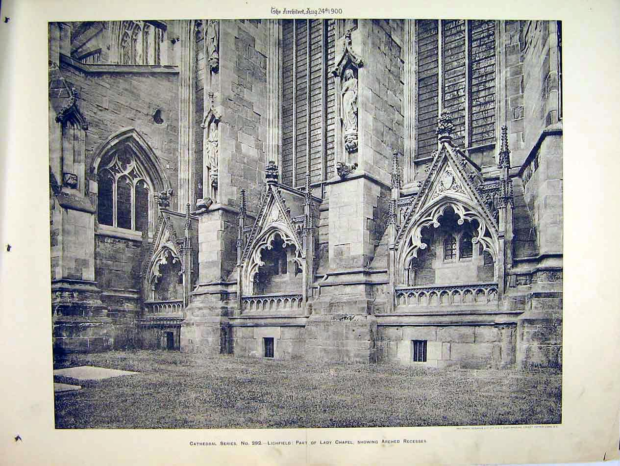 Print 1900 View Lady Chapel Recessess Lichfield Cathedral 106B303 Old Original