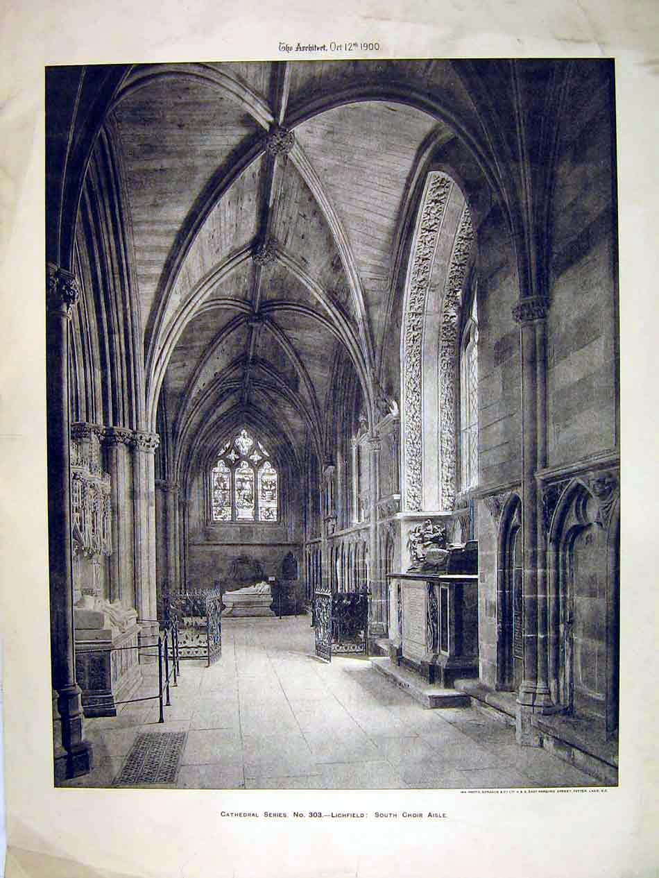 Print 1900 View South Choir Aisle Lichfield Cathedral Sprague 108B303 Old Original