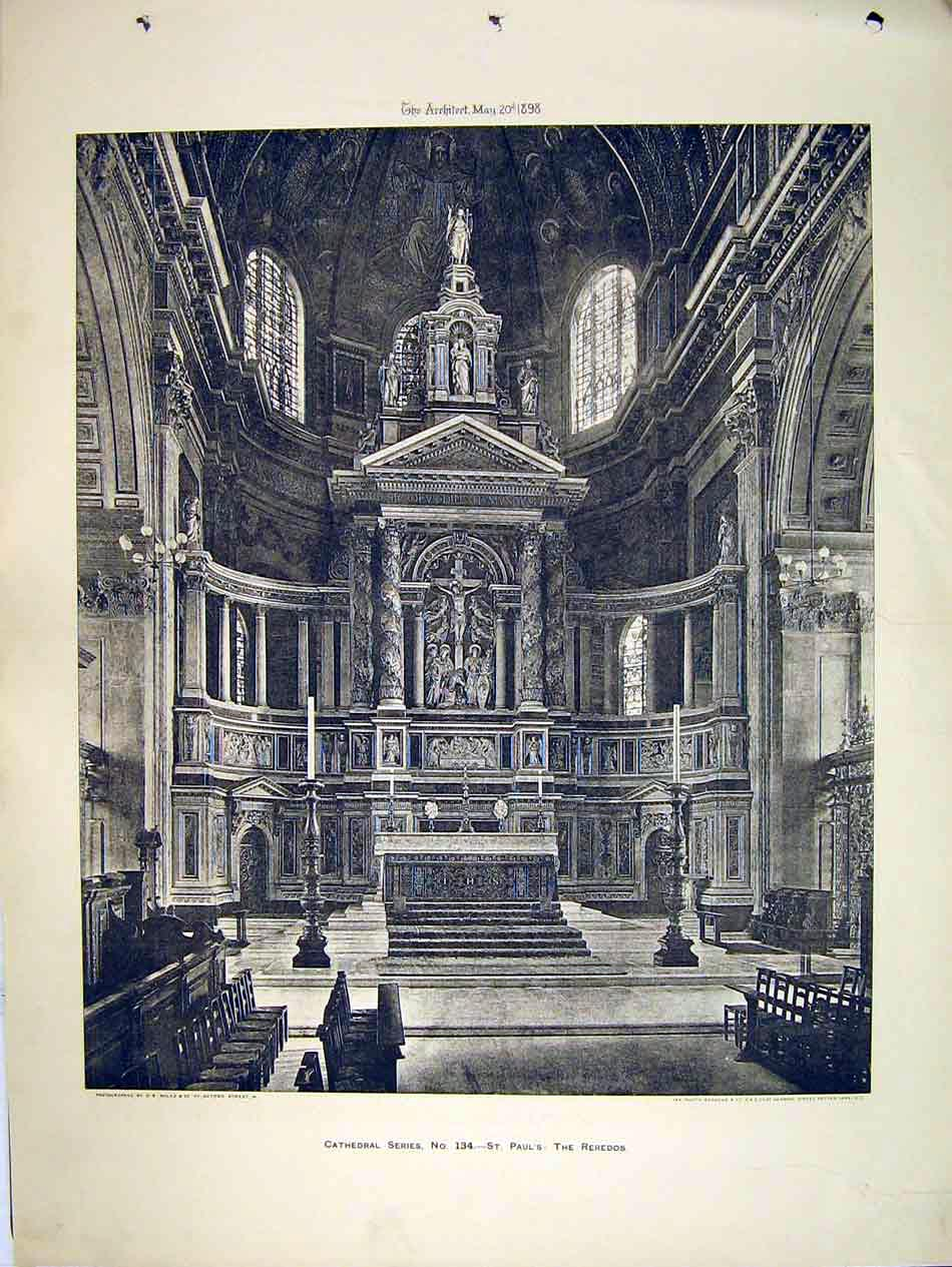 Print Cathedral View St Paul'S Reredos 1898 Sprague 112B303 Old Original
