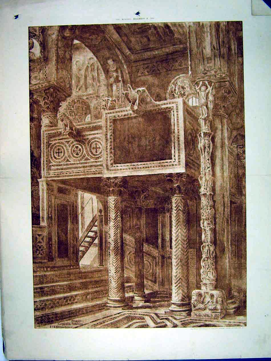 Print 1897 Interior Cathedral Palmero Henderson 116B303 Old Original