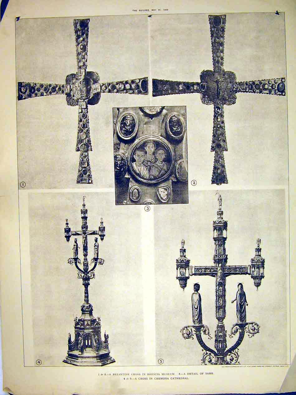 Print Byzantine Cross Brescia Museum 1902 Cremona Cathedral 120B303 Old Original