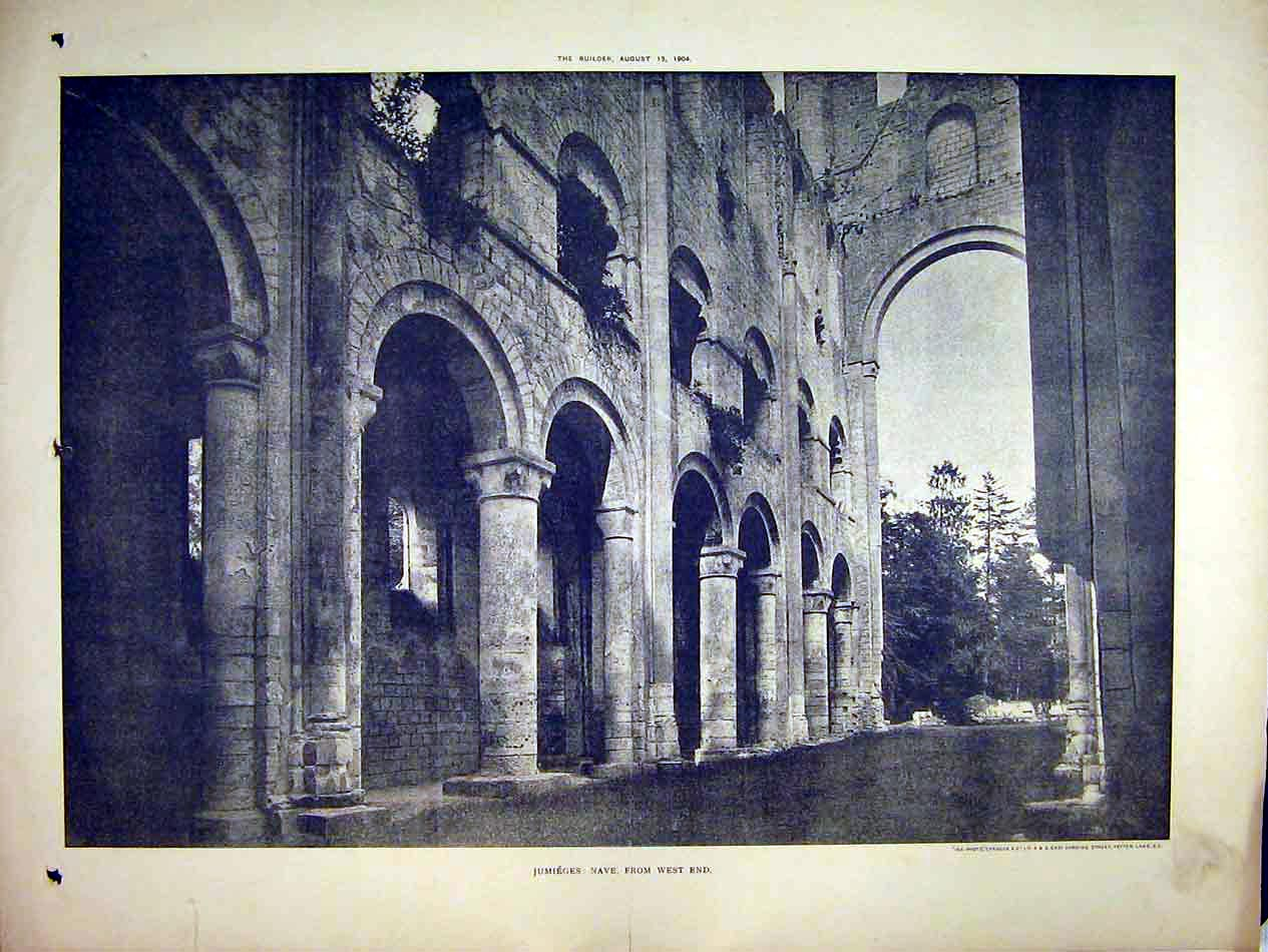 Print 1904 View Jumieges Nave West End Cathedral Sprague 121B303 Old Original