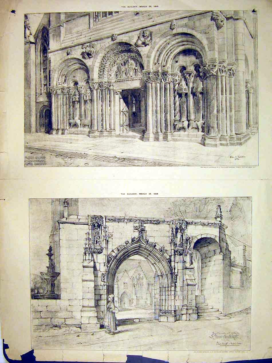 Print 1898 Exterior View Church Gateway Builder 125B303 Old Original