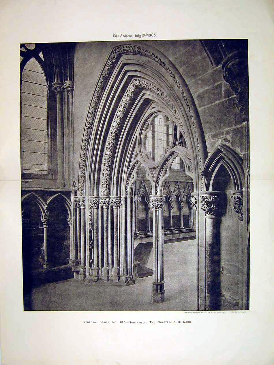 Print 1908 View Chapter-House Door Southwell Cathedral 128B303 Old Original