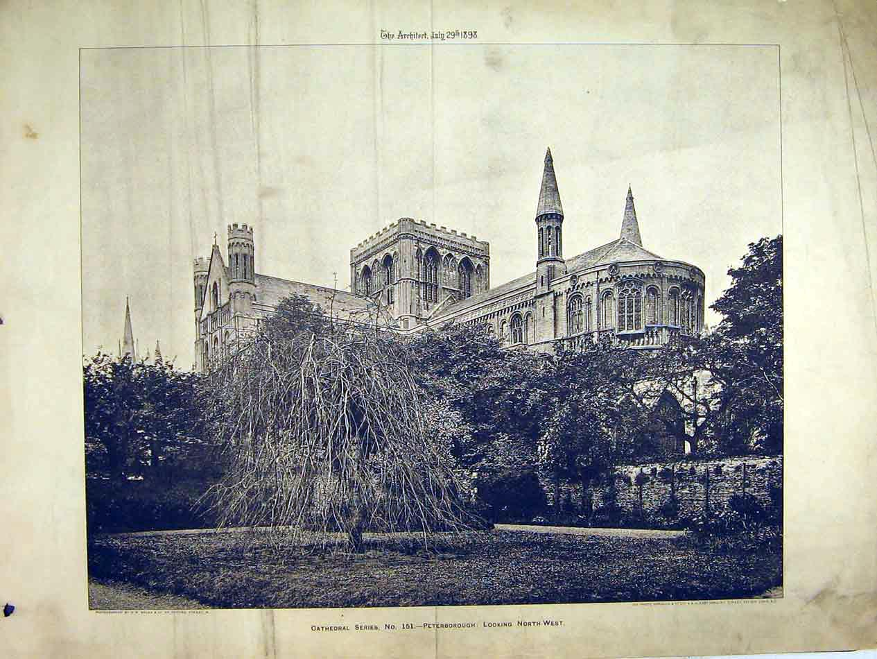 Print Peterborough Cathedral 1898 Exterior View Photograph 130B303 Old Original