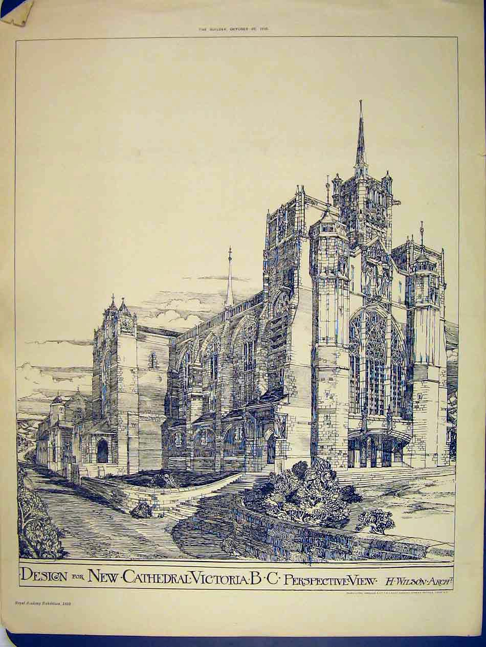 Print 1893 New Cathedral Victoria Exterior Design Wilson 150B303 Old Original