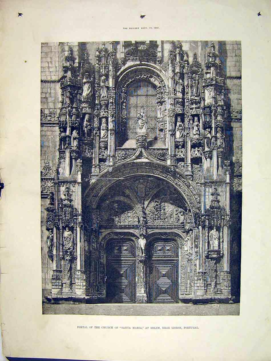 Print Portal Church Santa Maria Belem 1881 Lisbon Portugal 159B303 Old Original