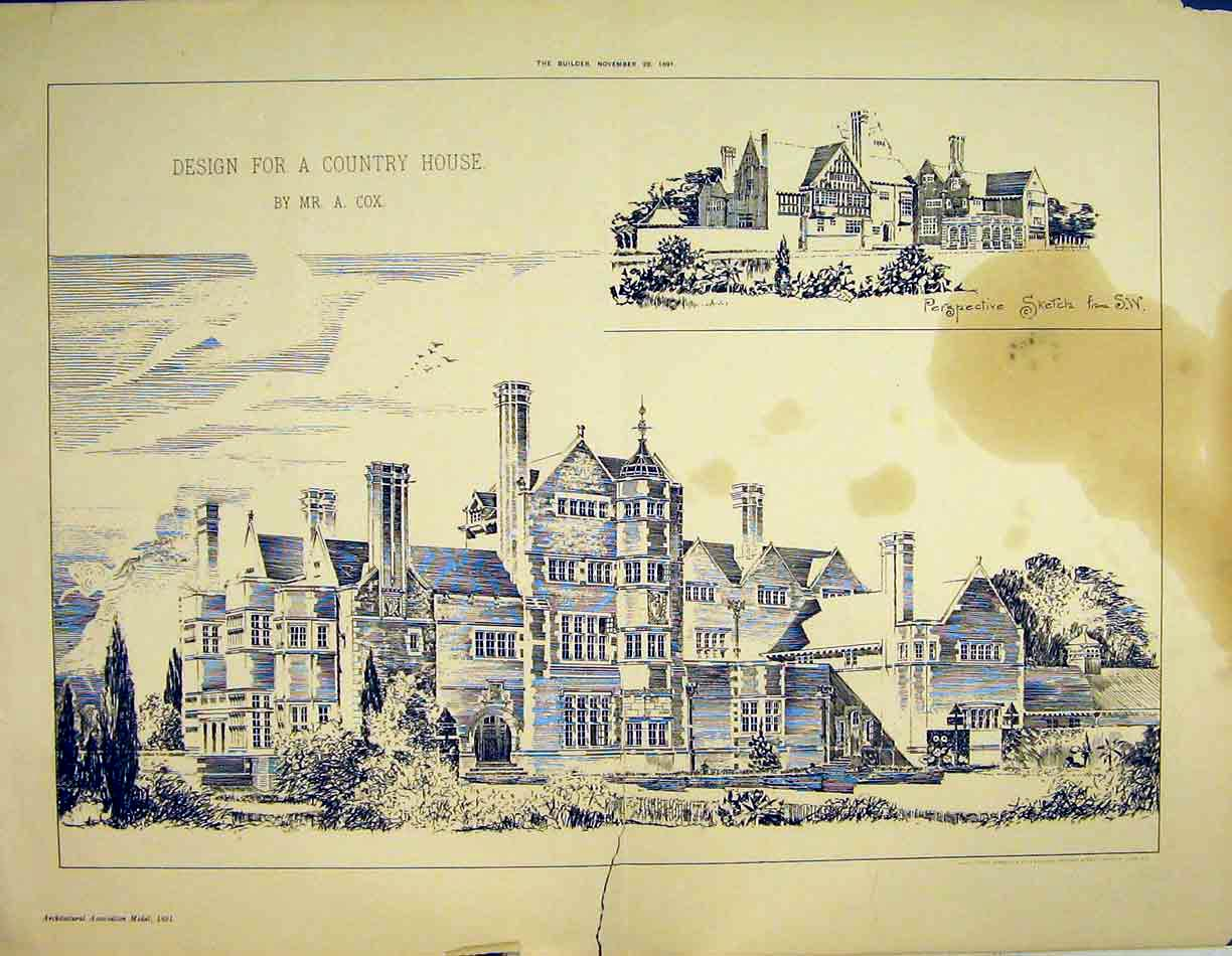 Print 1891 Design Sketch Country House Architecture Cox 161B303 Old Original
