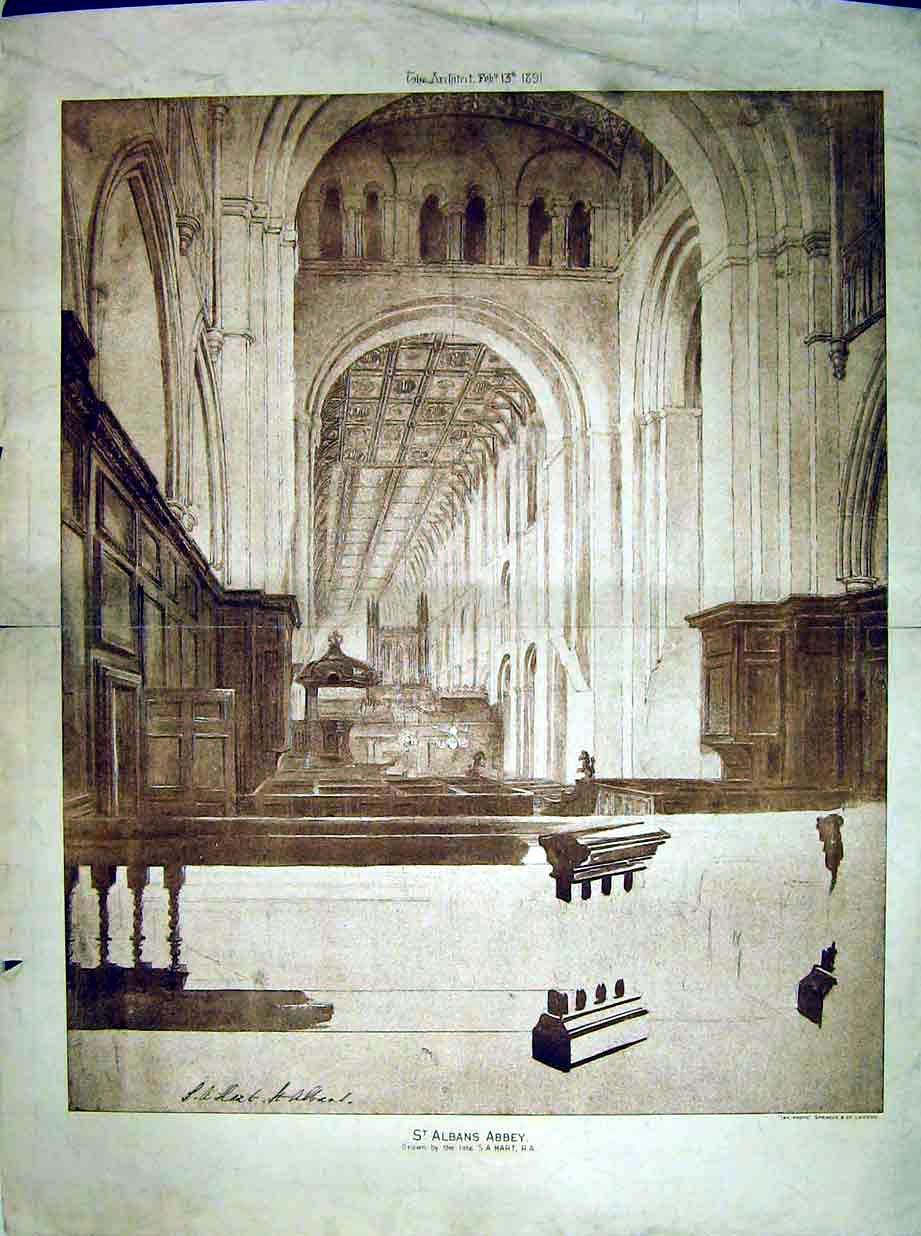 Print 1891 View St Albans Abbey Church Interior Hart Sprague 167B303 Old Original