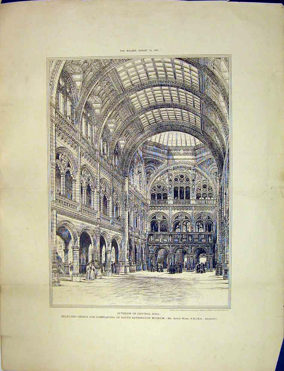 Print 1891 Interior Central Hall Kensington Museum Aston Webb 177B303 Old Original