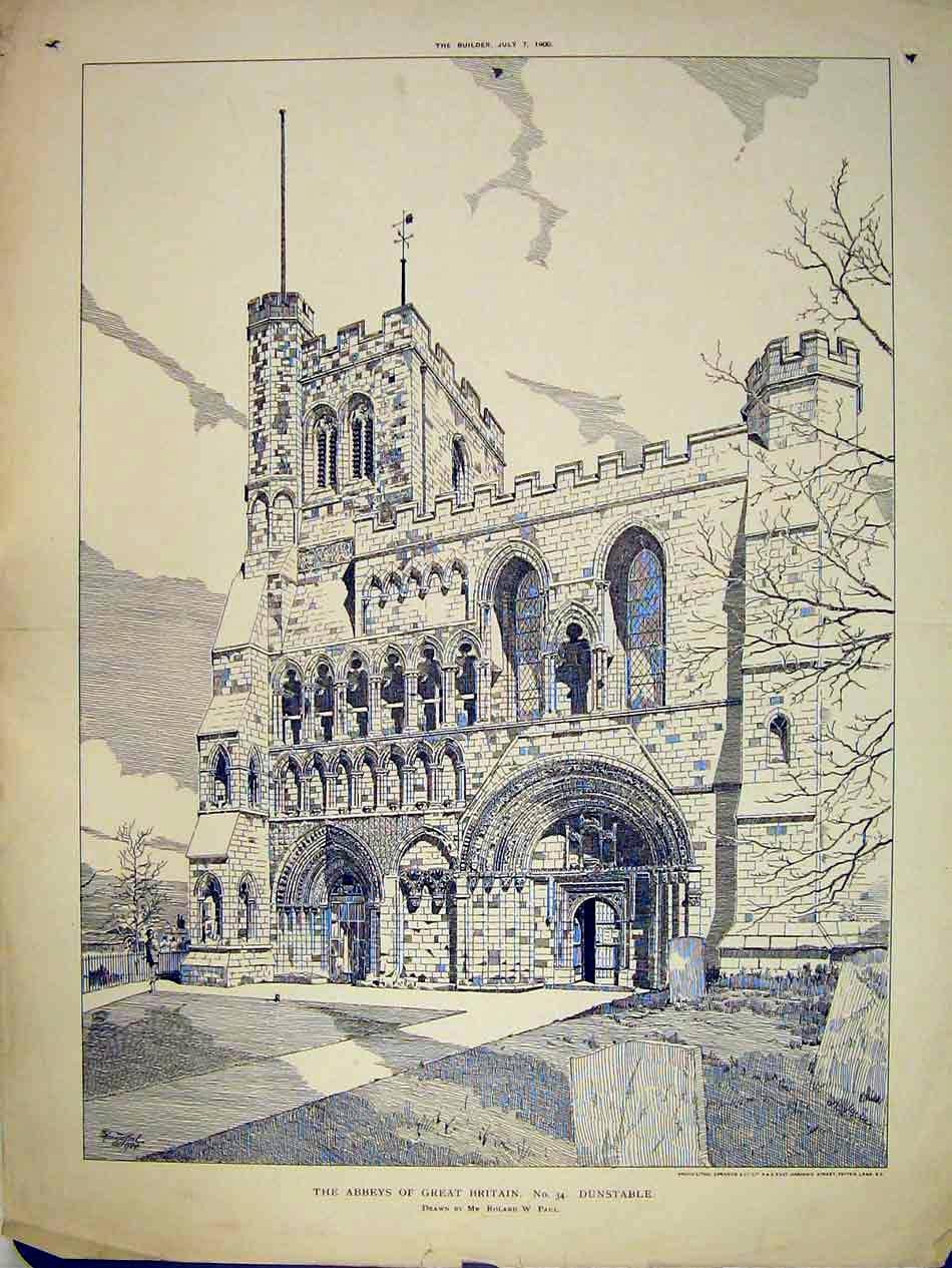 Print Exterior View Dunstable Abbey England 1900 Roland Paul 183B303 Old Original