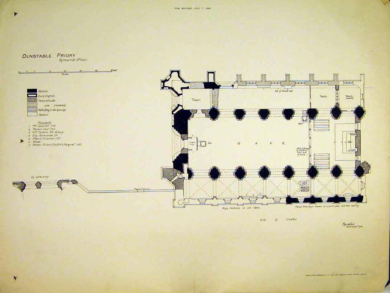 Print View Ground-Plan Dunstable Priory 1900 Nave Tower 184B303 Old Original