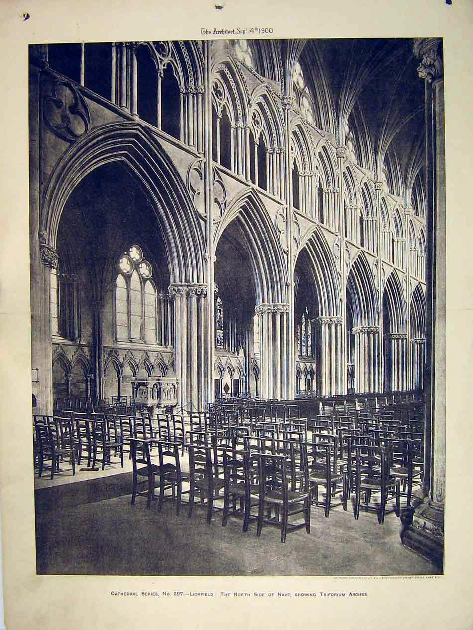 Print Lichfield Cathedral 1900 View Triforium Arches Nave 188B303 Old Original