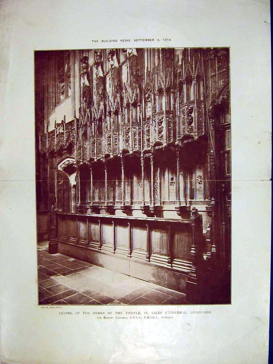 Print 1918 Chapel Order Thistle Giles Cathedral Edinburgh 195B303 Old Original