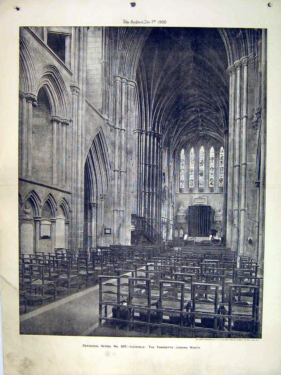Print 1900 Interior View Lichfield Cathedral Transept North 202B303 Old Original