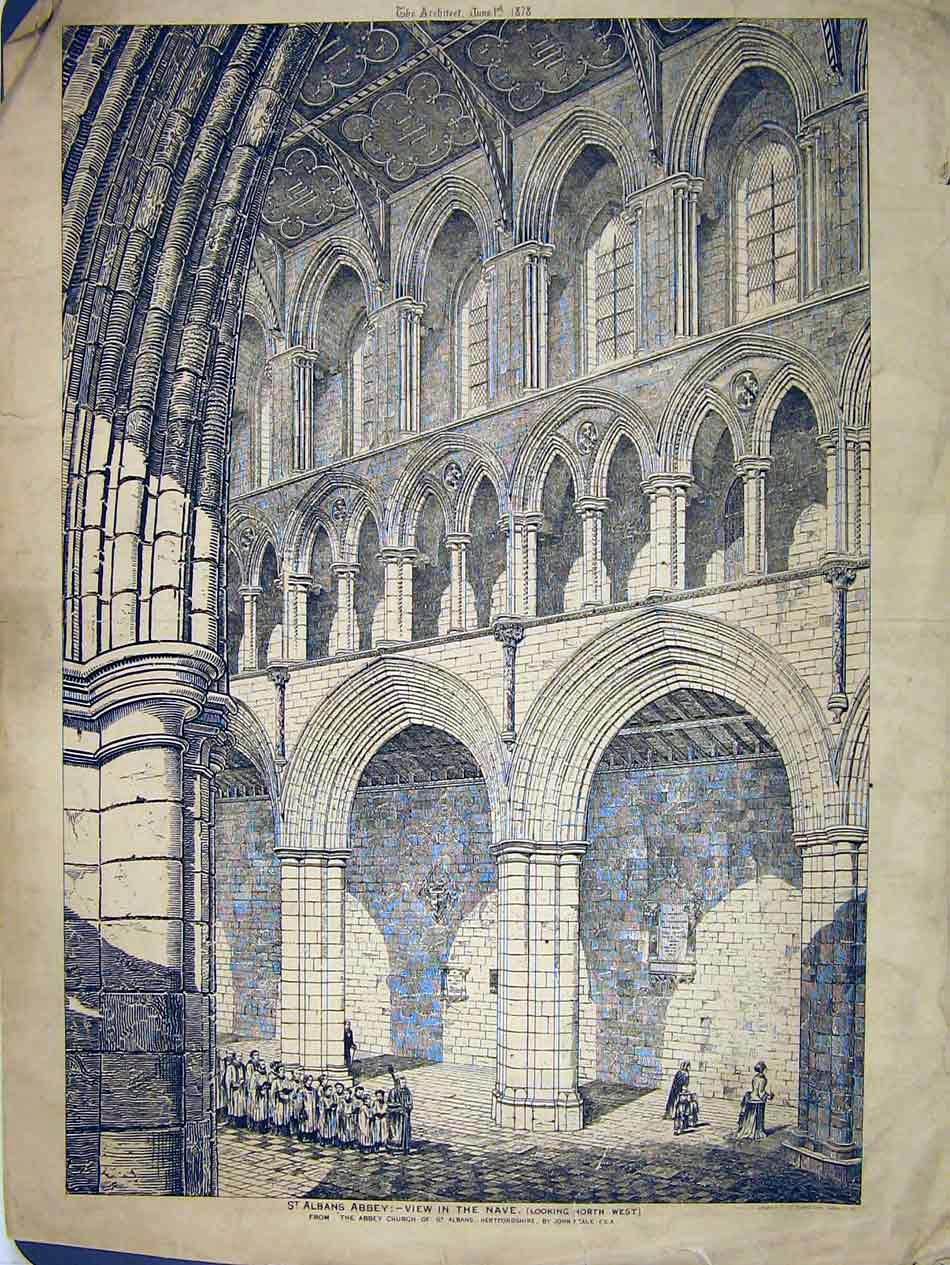 Print 1878 Interior View Nave St Albans Abbey John Neale 206B303 Old Original