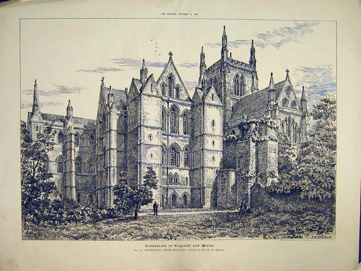Print 1891 Exterior View Rochester Cathedral England Brewer 209B303 Old Original