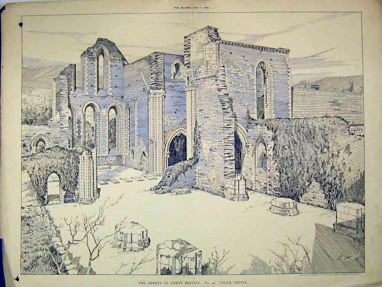 Print View Ruins Valle Crucis Abbey England 1899 Roland Paul 211B303 Old Original