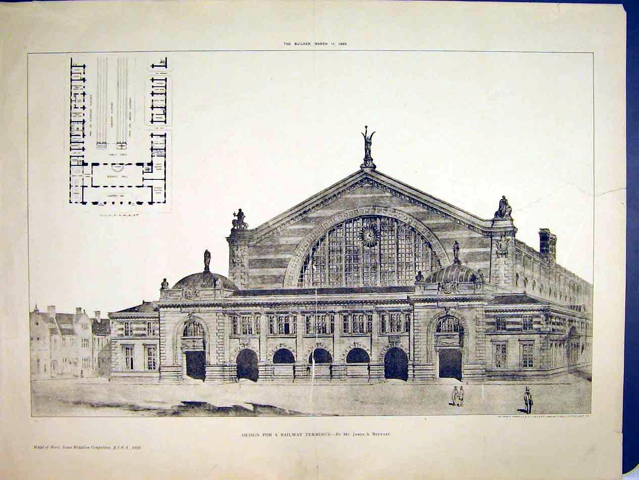 Print Plan Design Railway Terminus Building 1893 Stewart 213B303 Old Original