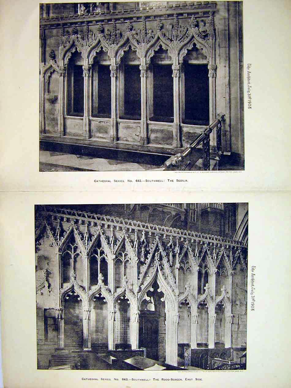Print Interior Southwell Cathedral 1908 Sedilia Rood-Screen 219B303 Old Original