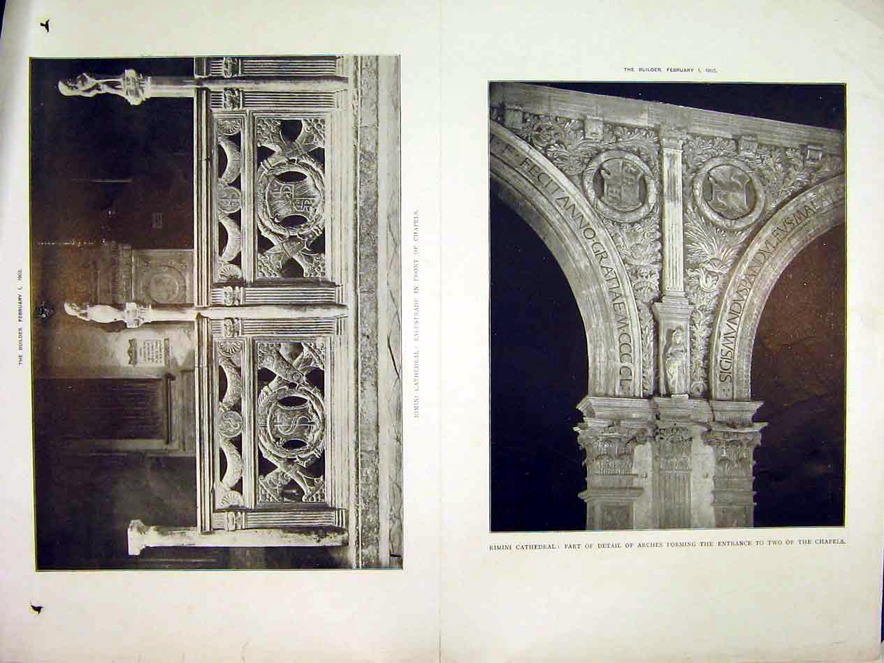 Print 1902 View Rimini Cathedral Balustrade Arches Chapels 220B303 Old Original