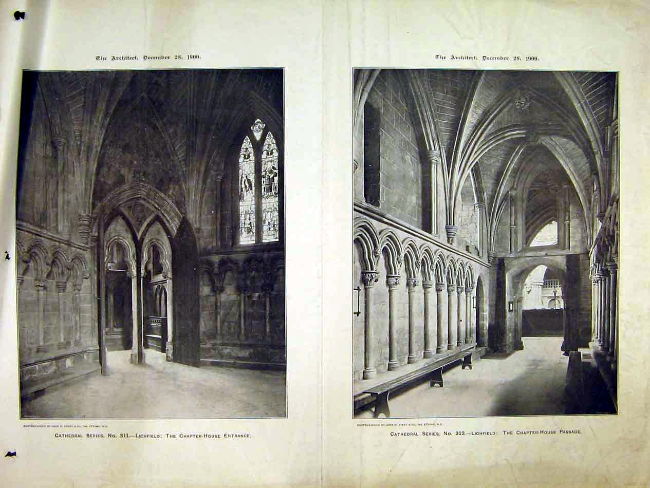 Print 1900 Interior Lichfield Cathedral Chapter House Avery 221B303 Old Original