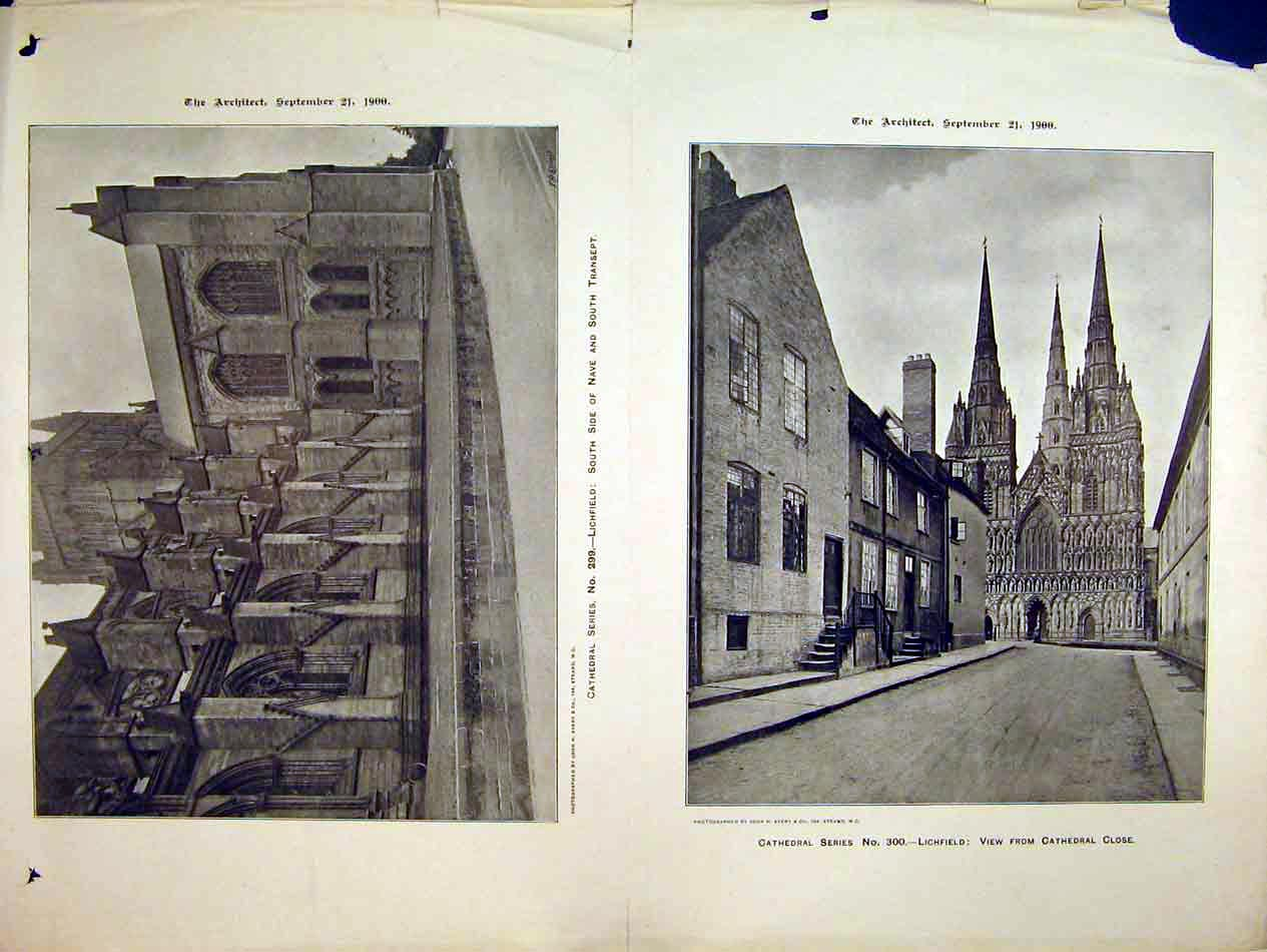 Print 1900 Lichfield Cathedral Nave Transept Close Avery 222B303 Old Original