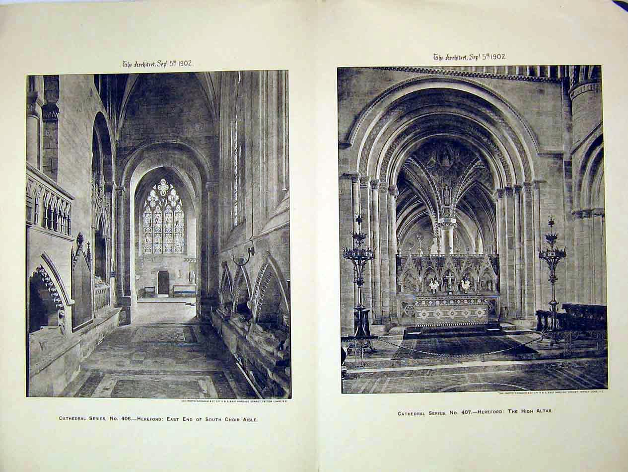 Print 1902 Hereford Cathedral High Altar South Choir Aisle 227B303 Old Original