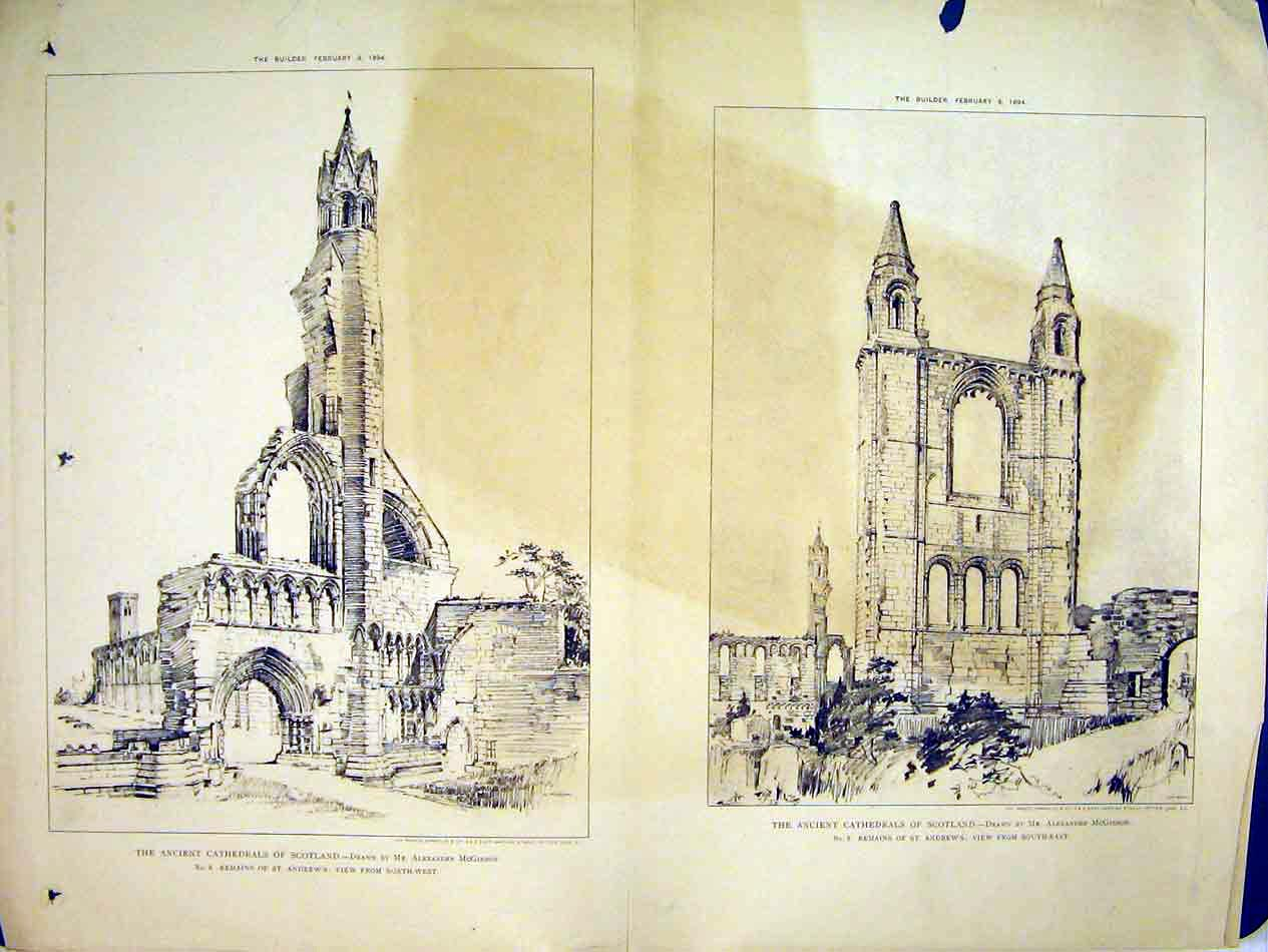 Print 1894 View Cathedral St Andrews Remains Mcgibbon 232B303 Old Original