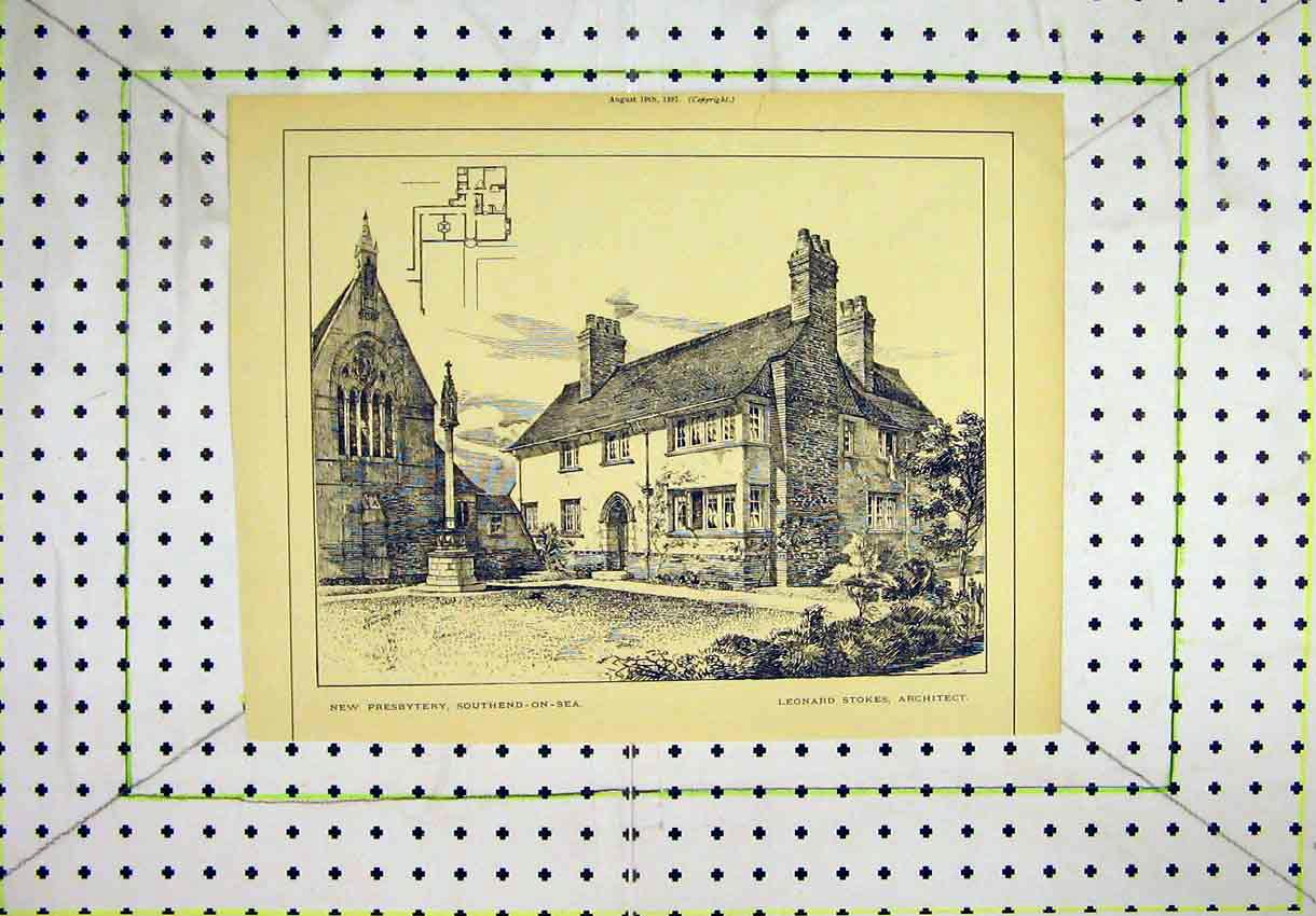 Print Southend-On-Sea View New Presbytery 1887 Leonard Stokes 108B304 Old Original