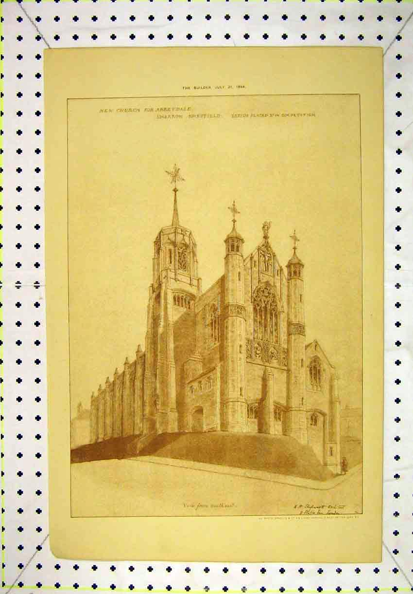 Print 1894 Exterior View Church Abbeydale Sharrow Sheffield 115B304 Old Original