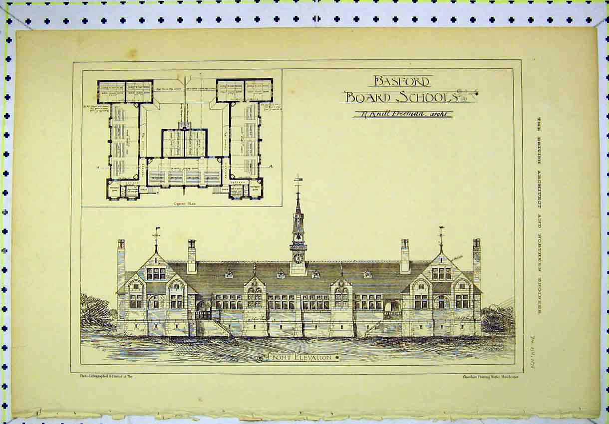 7 print 1878 front elevation basford board schools floor plan print 1878 front elevation basford board schools floor plan 117b304 old original